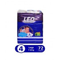 Leo Blue Baby Diaper Large 7-18 KG Pack Of 72
