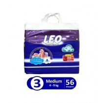 Leo Blue Baby Diaper Medium 4-9 KG Pack Of 56
