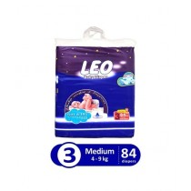 Leo Blue Baby Diaper Medium 4-9 KG Pack Of 84
