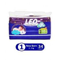 Leo Blue Baby Diaper New Born 2-5 KG Pack Of 34