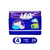 Leo Blue Baby Diaper Large 7-18 KG Pack Of 24