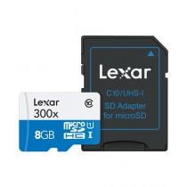 Lexar 8GB High-Performance 300x microSDHC Memory Card with SD Card Adapter