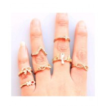 Luxurify 7 Pcs Gold Plated Rings Set