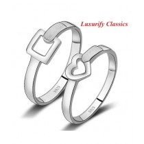 Luxurify Platinum Swiss Ring For Couple Silver