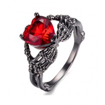 Luxurify Red Heart Crystal Ring For Women