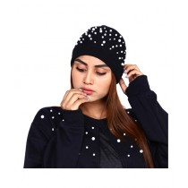 Marck And Jack Pearl Embellished Beanie Cap For Women Black (M&J-WF14)