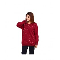 Marck And Jack Pearl Embellished Top For Women Maroon (M&J-WF7)