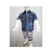 Madina Fashion Denim Shirt And Short For Boys Multicolor (Su-00001)