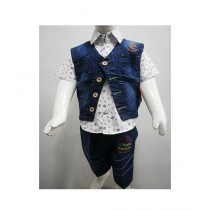 Madina Fashion Denim Shot And Shirt With Denim Waistcoat For Boys (Su-00003)