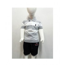 Madina Fashion Polo T-Shirt With Interlock Short Suit For Boys Multicolor