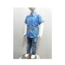 Madina Fashion Shirt With Stretchable Narrow Pants Suit For Boys Sky Blue