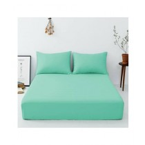 Maguari Luxury Cotton Fitted Single Bed Sheet With Pillow Cover Green