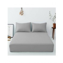 Maguari Luxury Cotton Fitted Single Bed Sheet With Pillow Cover Grey