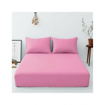 Maguari Luxury Cotton Fitted Single Bed Sheet With Pillow Cover Pink