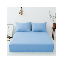 Maguari Luxury Cotton Fitted Single Bed Sheet With Pillow Cover Sky Blue
