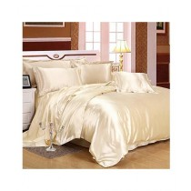 Maguari Soft Silk Shine Comforter Bed Set Beige