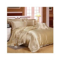 Maguari Soft Silk Shine Comforter Bed Set Light Brown