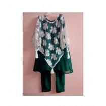 MakAsh Crinkle Chifon Frock For Girls Green