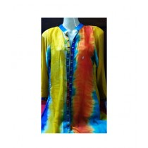 MakAsh Embroidery Upper Silk Shirt For Women Multicolor