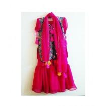 MakAsh Georgette Gharara Pants With Choli For Girls Pink