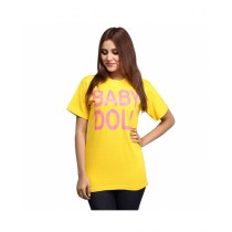 Marck And Jack Baby Doll Printed T-Shirt For Women Yellow