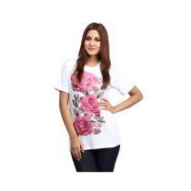 Marck And Jack Blossom Flower Printed Top For Women White