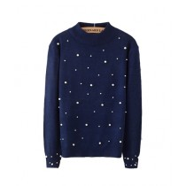 Marck And Jack Embellished Sweatshirt For Women Navy Blue (M&J-DW33)
