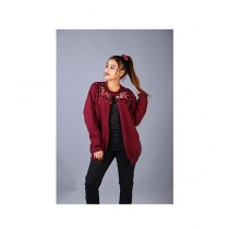 Marck And Jack Embellished Winter Cape Coat For Women Maroon