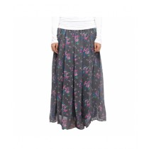 Marck And Jack Floral Chiffon Skirt For Women Grey (MJ116)