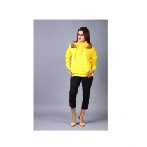 Marck And Jack Floral Embroidered Pullover Hoodie For Women Yellow
