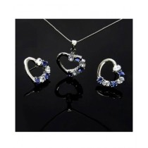 Marck And Jack Heart Shape Zircon Jewellery Set Blue & White (MJ7)