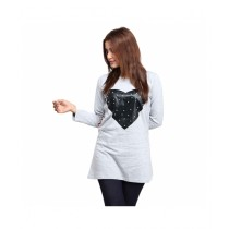 Marck And Jack Pearl Heart Cotton Top For Women Grey