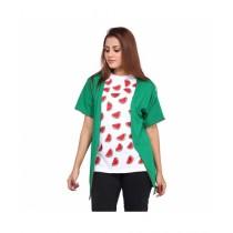 Marck And Jack Printed T-Shirt & Kimono For Women Green White (M&J-Dw13)