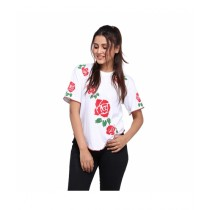 Marck And Jack Red Rose Printed Top For Women White (MJ103)