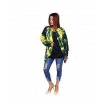 Marck & Jack Fleece Cape Coat For Women Deep Green/Yellow (M&J-WF18)