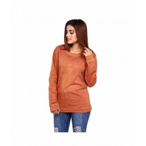 Marck & Jack Leather Effect Sweatshirt For Women Brown (M&J-WF1)