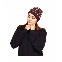 Marck & Jack Pearl Embellished Beanie Cap For Women Brown (M&J-WF30)