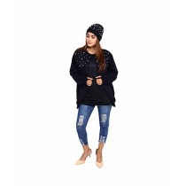 Marck & Jack Pearl Embellished Cape Coat With Pearl Beanie Cap For Women Black (M&J-WF26)