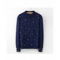 Marck & Jack Pearl Embellished Sweatshirt For Women Navy Blue (M&J-DW33)