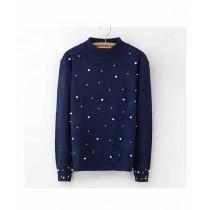 Marck & Jack Pearl Embellished Sweatshirt For Women Black (M&J-DW34)