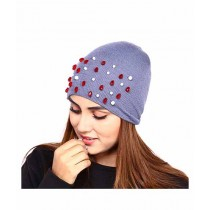 Marck & Jack Ruby Crystal Embellished Beanie Cap For Women Grey (M&J-WF10)