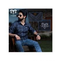 Markhor Clothing Check Denim Casual Shirt Blue For Men
