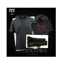 Markhor Clothing Pique Cotton Royal Bronze Polo Shirt Charcoal For Men