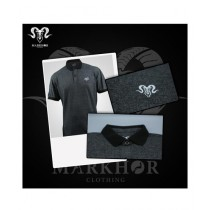Markhor Clothing Pique Cotton Royal White Polo Shirt Charcoal For Men