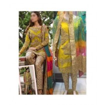 Mehakmall Fancy Party Wear Suit For Women Yellow (0014)