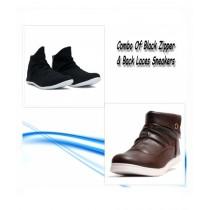 MM Mart Combo Of Black Zipper + Back Laces Shoe For Men (0955)