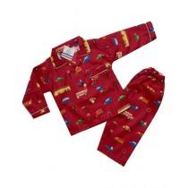 Mubarak Store Cotton Night Suit For Kids Mehroon (77197)