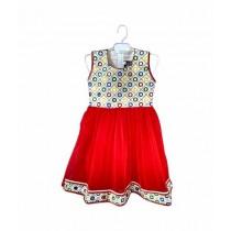 Mubarak Store Fancy Net Embroidery Frock Red 3pcs (R-77109)
