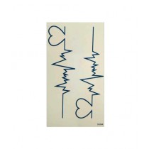 Muzamil Store Electrocardiogram Shape Tattoo Sticker Pack of 2