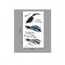 Muzamil Store Text Feather Tattoo Sticker Pack of 3